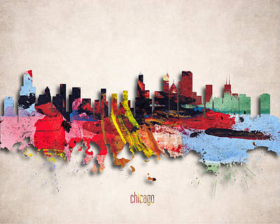 Windy Digital Art - Chicago Painted City Skyline by World Art Prints And Designs