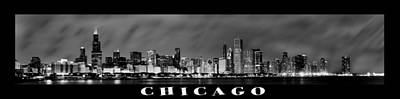 Long Exposure Photograph - Chicago Panorama At Night by Sebastian Musial