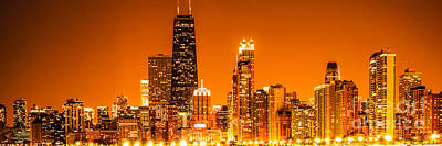 Skylines Royalty-Free and Rights-Managed Images - Chicago Panorama Skyline at Night Orange Tone by Paul Velgos