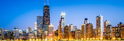 Skylines Royalty-Free and Rights-Managed Images - Chicago Panorama Skyline at Twilight Photo by Paul Velgos