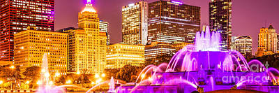Skylines Royalty-Free and Rights-Managed Images - Chicago Panorama with Buckingham Fountain  by Paul Velgos
