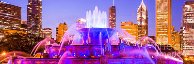 Skylines Royalty-Free and Rights-Managed Images - Chicago Panoramic Picture with Buckingham Fountain  by Paul Velgos