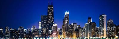 Chicago Panoramic Skyline At Night Blue Tone Print by Paul Velgos