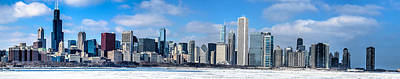 Photograph - Chicago Panoramic Skyline Shot 2-16-14 by Michael  Bennett
