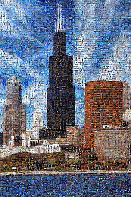 Chicago Photo Mosaic Art Print by Wernher Krutein