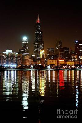 Chicago Photography - Willis Tower At Night Art Print by Gene Mark