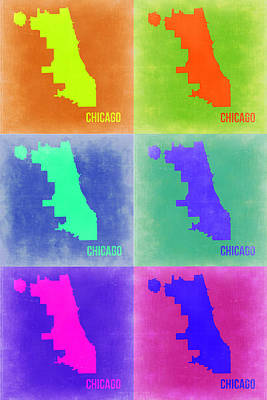 Modern Poster Painting - Chicago Pop Art Map 3 by Naxart Studio