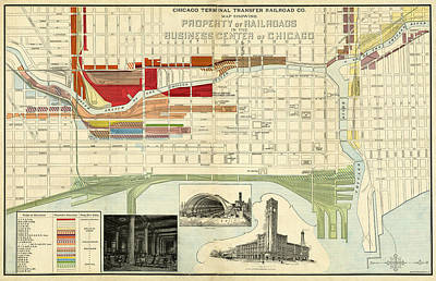 Photograph - Chicago Railroad Map 1898 by Andrew Fare