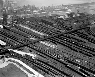 Train Tracks Photograph - Chicago Railroad Yards by Underwood Archives