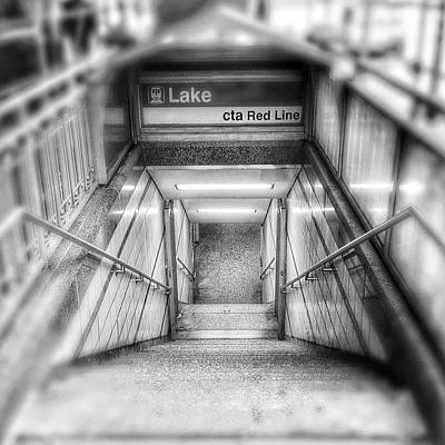 White Photograph - Chicago Lake Cta Red Line Stairs by Paul Velgos
