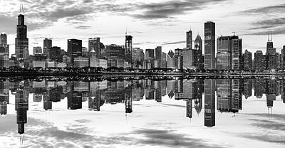 Chicago Reflection Panorama Print by Donald Schwartz