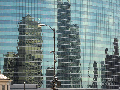 Photograph - Chicago Reflections - Summer Heat Shimmer 1 by Conni Schaftenaar