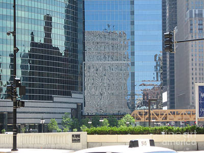 Photograph - Chicago Reflections - Summer Heat Shimmer 2 by Conni Schaftenaar