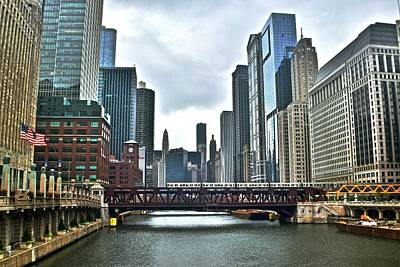 Chicago River And City Art Print by Frozen in Time Fine Art Photography
