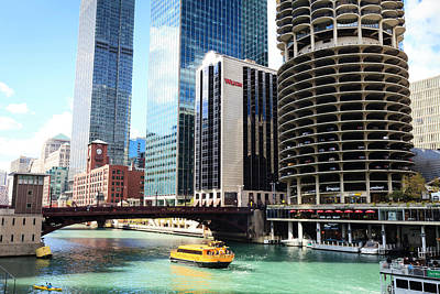 Chicago Photograph - Chicago River And Towers, Chicago by Amanda Hall / Robertharding