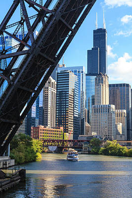 Chicago Photograph - Chicago River And Towers by Fraser Hall