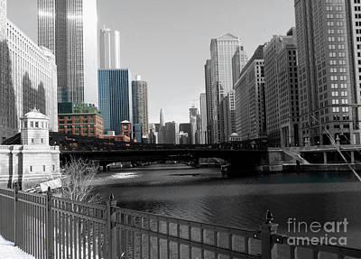 Chicago River At Franklin Street Art Print by David Bearden
