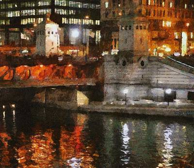 Landscape Digital Art - Chicago River At Michigan Avenue by Jeff Kolker