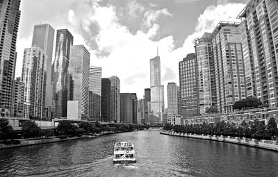Photograph - Chicago River Black And White by Frozen in Time Fine Art Photography