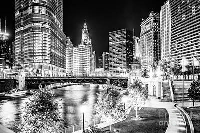 Wrigley Photograph - Chicago River Buildings At Night In Black And White by Paul Velgos