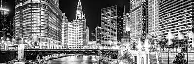 Chicago River Cityscape Panorama Photo With Wabash Bridge  Art Print by Paul Velgos
