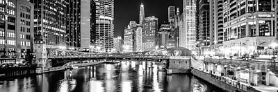 Clark Street Photograph - Chicago River Clark Street Bridge At Night Panorama Photo by Paul Velgos