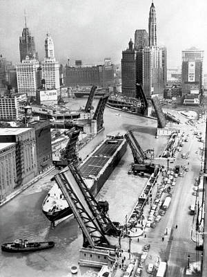 Photograph - Chicago River Drawbridges Up by Underwood Archives