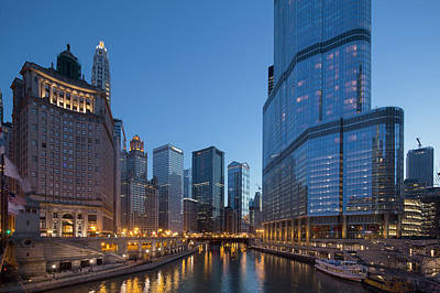 Chicago Photograph - Chicago River Evening Business by Steve Dunwell