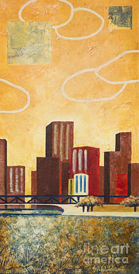 Chicago Skyline Mixed Media - Chicago River II by Sandra Neumann Wilderman