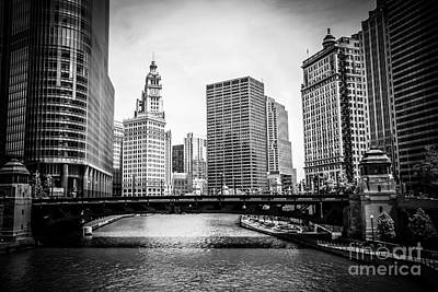 Avenue Photograph - Chicago River Skyline In Black And White by Paul Velgos
