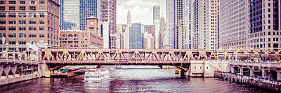 Skylines Royalty-Free and Rights-Managed Images - Chicago River Skyline Vintage Panorama Picture by Paul Velgos