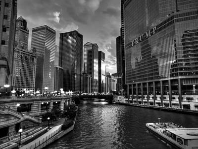 Photograph - Chicago River - The Mag Mile 001 Bw by Lance Vaughn