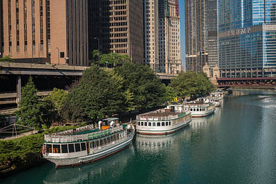 Chicago River Tour Boats Art Print by Steve Gadomski