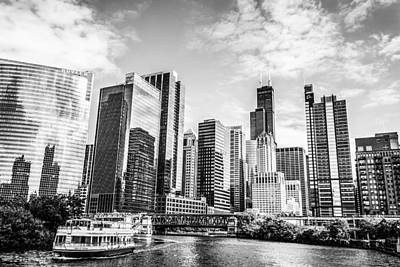 Photograph - Chicago River Tour In Monochrome by Semmick Photo