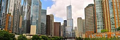 Black Commerce Photograph - Chicago River View Panorama by Frozen in Time Fine Art Photography