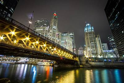 Chicago Riverwalk At Night Art Print by Jackie Novak