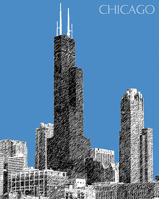 Pen Digital Art - Chicago Sears Tower - Slate by DB Artist