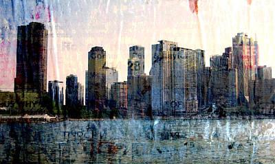Digital Art - Chicago Skyline 1 And Painted Newspaper by Anita Burgermeister