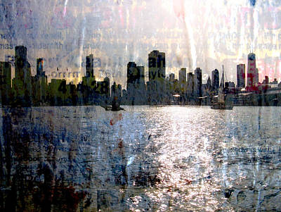 Lake Michigan Digital Art - Chicago Skyline 2 And Painted Newspaper by Anita Burgermeister