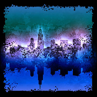 Chicago Skyline Painting - Chicago Skyline Abstract 2 by Bekim Art
