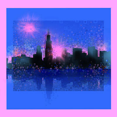 Abstract Digital Painting - Chicago Skyline Abstract 5 by Bekim Art