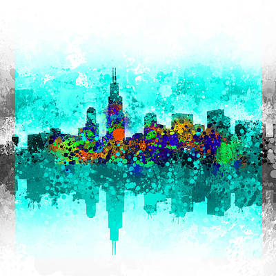 Skylines Paintings - Chicago Skyline Abstract by Bekim Art