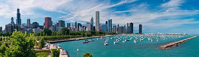Boat Photograph - Chicago Skyline Daytime Panoramic by Adam Romanowicz