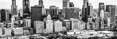 Chicago Black And White Photograph - Chicago Skyline Aerial Panorama Photo by Paul Velgos