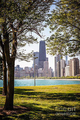 City Scenes Royalty-Free and Rights-Managed Images - Chicago Skyline and Hancock Building Through Trees by Paul Velgos