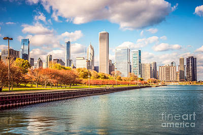 Chicago Skyline And Lake Michigan Photo Art Print by Paul Velgos