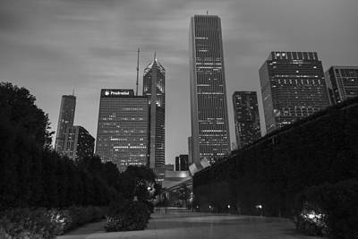 Photograph - Chicago Skyline And Walkway In Black And White by John McGraw
