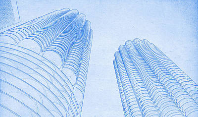 Chicago Skyline Mixed Media - Chicago Skyline Architecture Marina Towers Blueprint by MotionAge Designs