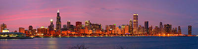 City Sunset Photograph - Chicago Skyline At Dusk 2008 Panorama by Jon Holiday