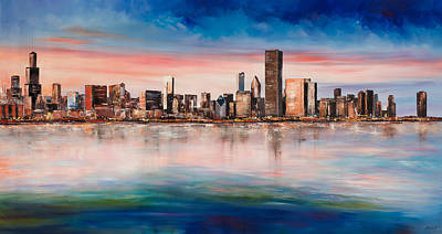 Chicago Skyline Painting - Chicago Skyline At Dusk by Manit
